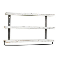 Industrial 3-Tier Floating Shelf With Towel, White