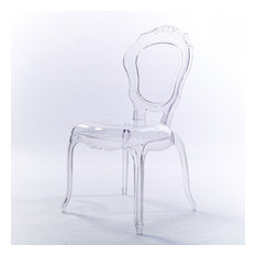 Designer Stackable Transparent Side Chair Dining Room Chair Armless No Arms, Cle