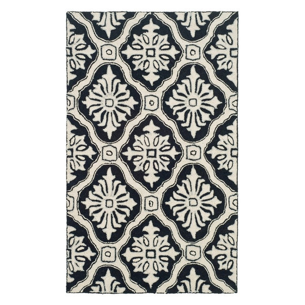 Wool Hand-Knotted Black Rug, 6' Round