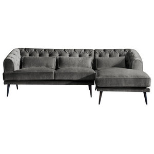 Earl Grey Chaise Sofa, Zinc, 3 Seater, Right Hand Facing