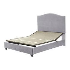Bellingham Camelback Upholstered Queen Bedset, Shale Microfiber