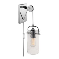 Globe Electric - Nordhaven 1-Light Chrome Plug-In or Hardwire Wall Sconce - Wall Sconces