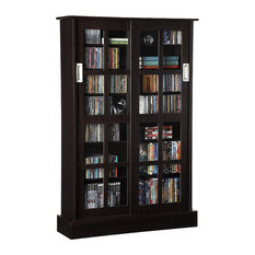 Media Cabinet, 2 Sliding Doors With Glass Insert, Adjustable Shelves, Espresso
