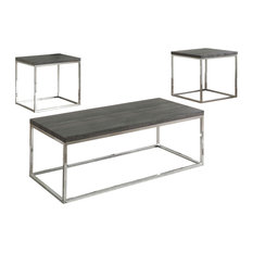 Wood And Metal 3-Piece Tail Table Set Gray And Chrome