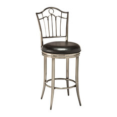 Hillsdale Portland Metal Faux Leather Swivel Counter Stool in Antique Pewter