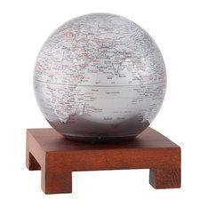 "MOVA 6"" Silver Earth Revolving Globe With Square Natural Wood Base"