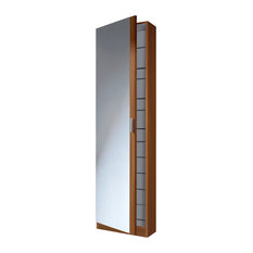 Kristal Shoe Rack With 1 Door and Mirror, Chestnut