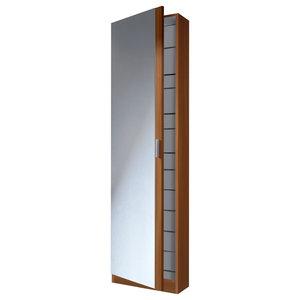 Kristal Shoe Rack With 1 Door and Mirror, Chestnut