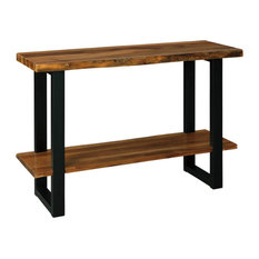 Console Table Black Painted Legs With Solid Acacia Wood Top And Shelf