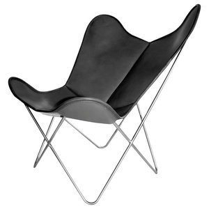 Original Hardoy Leather Butterfly Chair, Black