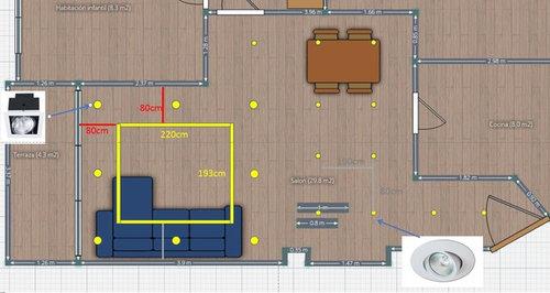 Necesito ayuda con la iluminación del salón/comedor