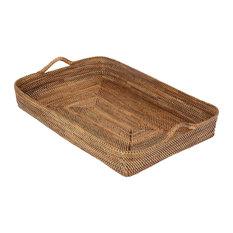 KOUBOO - Carmel Large Handwoven Nito Rectangular Serving Tray, Honey-Brown - Serving Trays