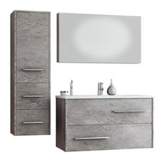 DP Fancy Wall Bathroom Vanity Cabinet Set Single Sink, Granite Finish Laminated