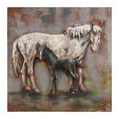 Horse Metal Wall Art Mixed Media Hand Painted Iron Wall Sculpture 48x48