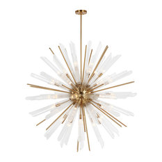 Quorra 41-Light Chandelier, Burnished Brass With Clear Fluted Glass