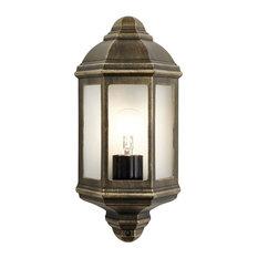 Traditional Black/Gold Cast Aluminium Flush Wall Lantern Light Fitting