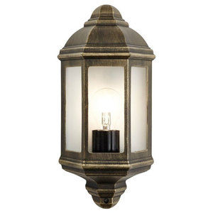 Traditional Black/Gold Cast Aluminium Flush Wall Lantern Light Fitting