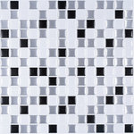"""CNK Tile - 10""""x10"""" Peel and Stick Mosaic Tile, Glass Look - These Tiles are made of a clear gel component which gives its 3-dimensional glass and stainless steel look."""