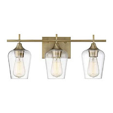 3-Light Bathroom Vanity Light With Clear Glass Shades, Dimmer Compatible, Gold