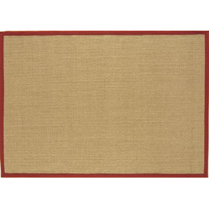 Sisal Rug, Linen and Red, 200x300cm