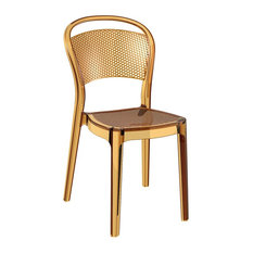 Bee Polycarbonate Dining Chair By Compamia Set Of 2, Transparent Amber