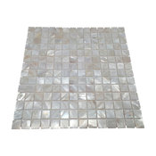 """Mother of Pearl Natural Sea Shell Tile, White, 11""""x11"""""""