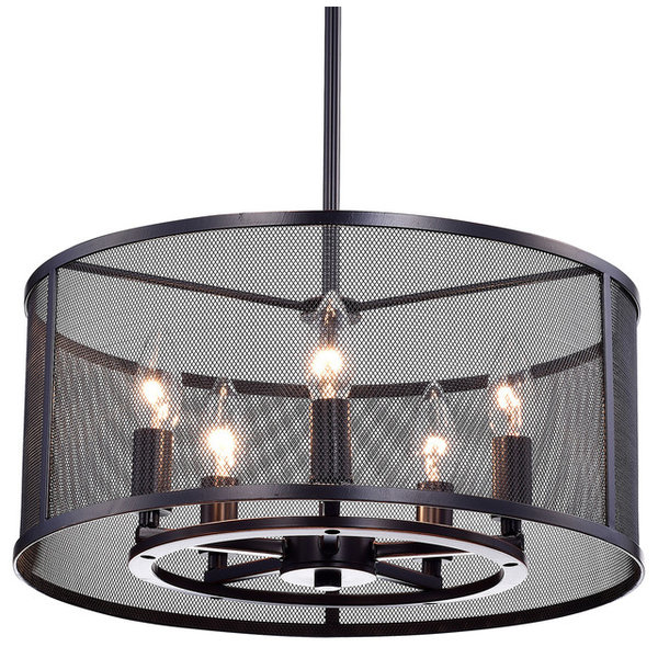 Aludra Round Metal Mesh Shade 5-Light Pendant Chandelier Oil-Rubbed Bronz