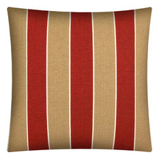 Madalena Stripe Red Indoor/Outdoor Zippered Pillow Cover, Without Insert
