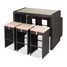 Imtinanz - Modern 7-Piece Rattan Wicker Bar Table With Stools Set - Outdoor Dining Sets