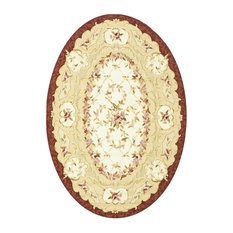 "Chelsea HK73 Area Rug, White/Ivory, 4'6""x6'6"" Oval"