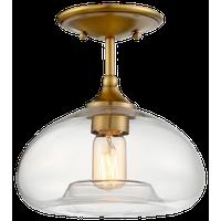 1-Light Semi-Flush Mount, Natural Brass