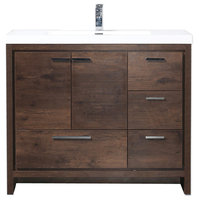 "Mod 42"" Modern Bathroom Vanity With Right Drawer, Rosewood"
