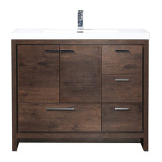 """Mod 42"""" Modern Bathroom Vanity With Right Drawer, Rosewood"""