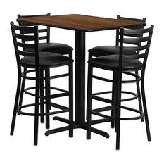 24''W x 42''L Rectangular Walnut Laminate Table Set