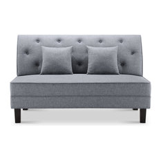 Cassandra Fabric Tufted Buttons Loveseat With Pillows, Gray