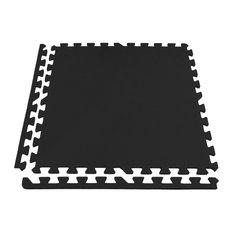 "24""x24"" Eco-Soft+ Interlocking Foam Tiles, Set of 12, Black"