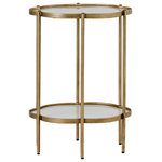GABBY - Gabby Clementine Flower Table - The Gabby Clementine Flower Table is an elegant gold and white end table with a petal design on its top and storage tray shelf. Adorned in White Seagrass and framed in Brushed Brass metal this glamorous accent table is sure to add transitional flair to any space.
