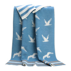 Seagulls Striped Wool Blanket