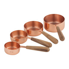 ELK Lifestyle Coppersmith Set Of 4 Measuring Cups In Copper And Teak 619595