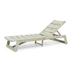 Lillian Outdoor Wood and Iron Chaise Lounge, Light Gray Wash, Gray