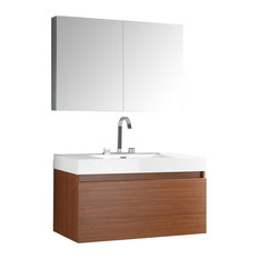 Fresca Mezzo Teak Modern Bathroom Vanity With Medicine Cabinet