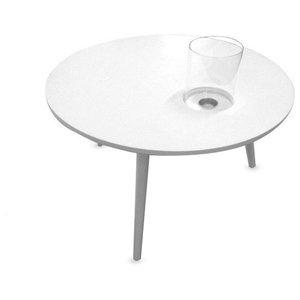 Oak Three Legged Coffee Table, White, Large