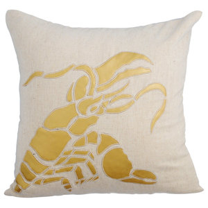 Sea Creatures 40x40 Linen Beige Throw Cushion Covers, Gold Lobster