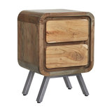 DJ Ford Retro 2-Drawer Wooden Side Table