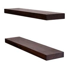"Clean Edge Floating Shelves, Set of 2, Espresso, 24"""