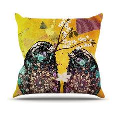 """AlyZen Moonshadow """"Birds in Love Yellow"""" Orange Gold Outdoor Throw Pillow"""