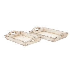 "Wood Trays, 2 Piece Set, 17"", 19"""