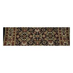 "Persian Classics Premium Stair Treads, Black/Border Color Ivory, 2.2""x9"""