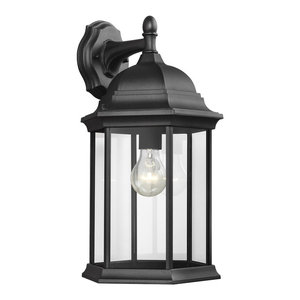 Sea Gull Lighting Large 1-Light Downlight Outdoor Lantern, Black