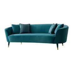 Divani Casa Jenner Modern Aqua Velvet Sofa